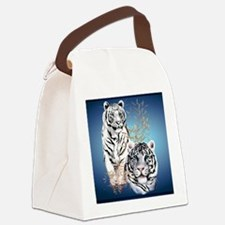 Two White Tigers Calender Canvas Lunch Bag