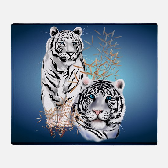 Two White Tigers Calender Throw Blanket
