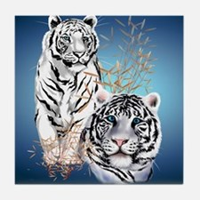 Two White Tigers Calender Tile Coaster