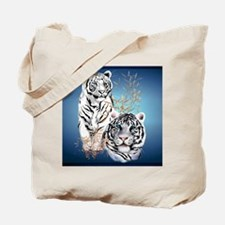 Two White Tigers Calender Tote Bag
