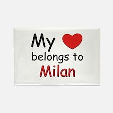 My heart belongs to milan Rectangle Magnet