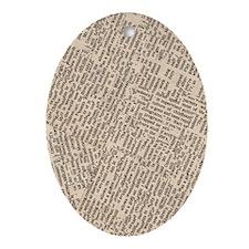 443_iphone_case-newsprint Oval Ornament