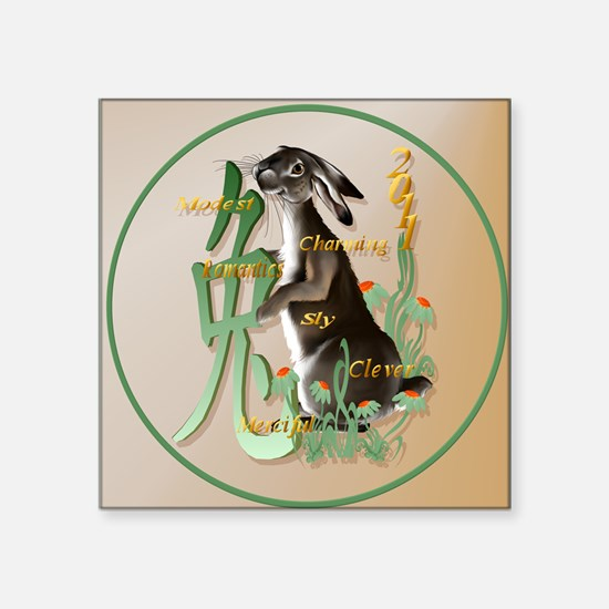 """The Year Of The Rabbit-circ Square Sticker 3"""" x 3"""""""