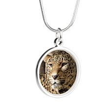 Leopard001 Silver Round Necklace