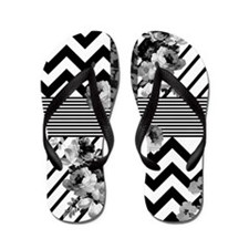 Trendy Black and White Floral Lace Stri Flip Flops