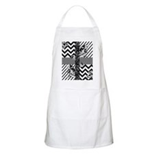 Trendy Black and White Floral Lace Stripes C Apron
