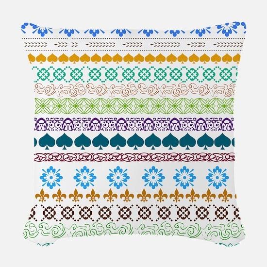 Decorative Folk Art Woven Throw Pillow