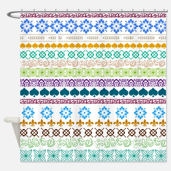 Decorative Folk Art Shower Curtain