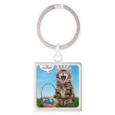 easterkitten_greet Square Keychain