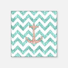 """Coral Glitter Nautical Anch Square Sticker 3"""" x 3"""""""