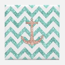 Coral Glitter Nautical Anchor Teal Ch Tile Coaster