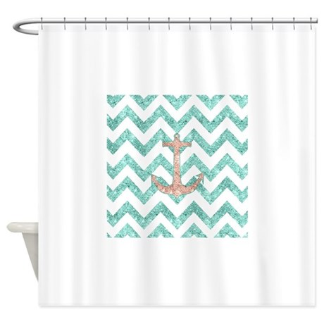 Coral Glitter Nautical Anchor Teal Shower Curtain By