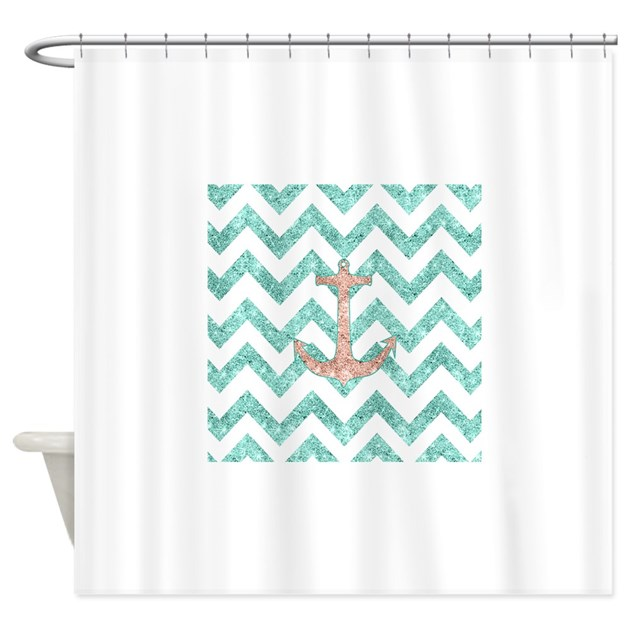 Coral Glitter Nautical Anchor Teal Shower Curtain By Listing Store 54202767