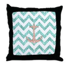 Coral Glitter Nautical Anchor Teal Ch Throw Pillow