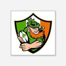 "Irish leprechaun rugby play Square Sticker 3"" x 3"""