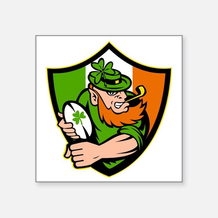 "Irish leprechaun rugby play Square Sticker 3"" x 3"""