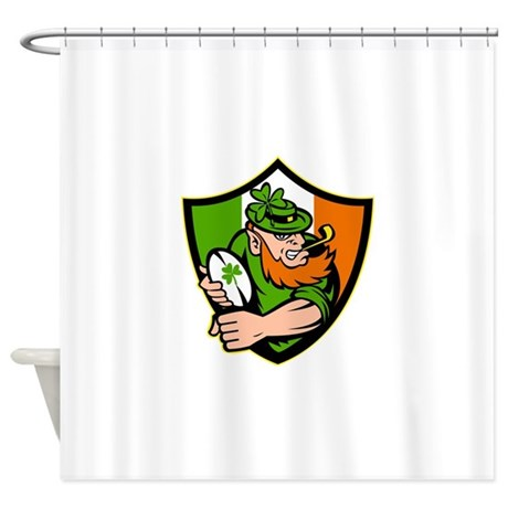 Irish leprechaun rugby player celti Shower Curtain
