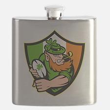 Irish leprechaun rugby player celtic shield  Flask