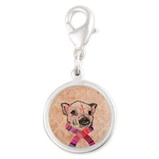 Funny Pig Sketch Pink Hipster  Silver Round Charm