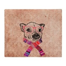 Funny Pig Sketch Pink Hipster Glasse Throw Blanket