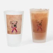 Funny Pig Sketch Pink Hipster Glass Drinking Glass