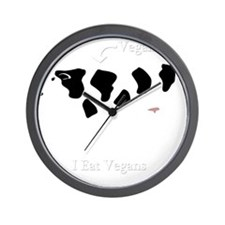 iEatVegan_dark Wall Clock