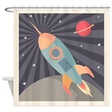 Retro Rocket Shower Curtain