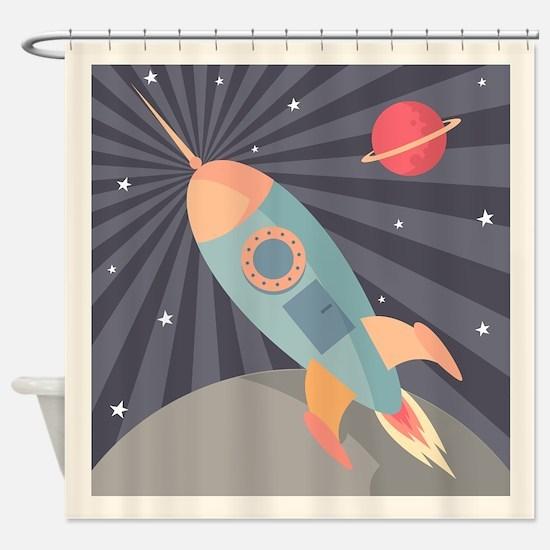 Retro Rocket Shower Curtain