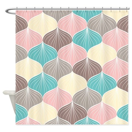 pastel seashells shower curtain