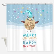 Holiday Owl Shower Curtain