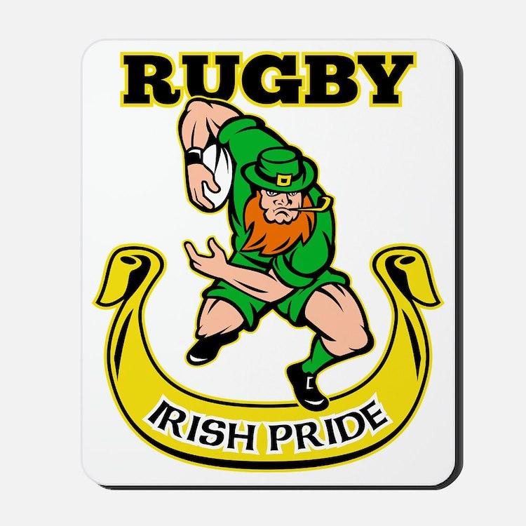 Irish leprechaun rugby player running ba Mousepad