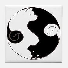 Ying Yang Akita Tile Coaster