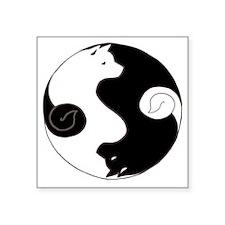 "Ying Yang Akita Square Sticker 3"" x 3"""