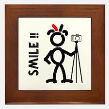 Red Smile3 Framed Tile