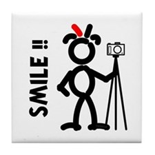 Red Smile3 Tile Coaster