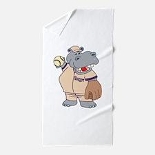 Softball Hippo Beach Towel
