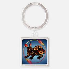 Black Designed Rabbit_mpad Square Keychain