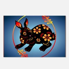 Black Designed Rabbit_mpa Postcards (Package of 8)