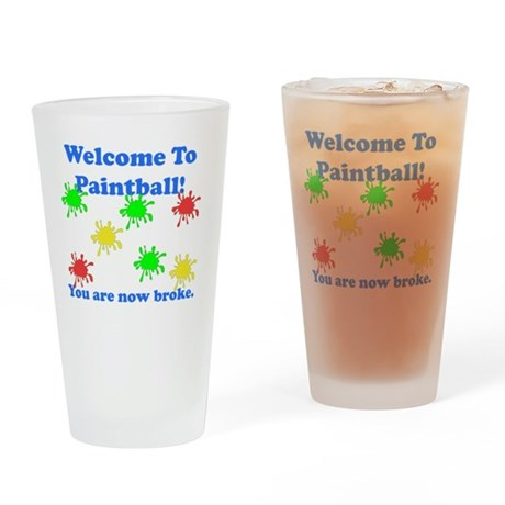 Paintball Broke Blue Drinking Glass