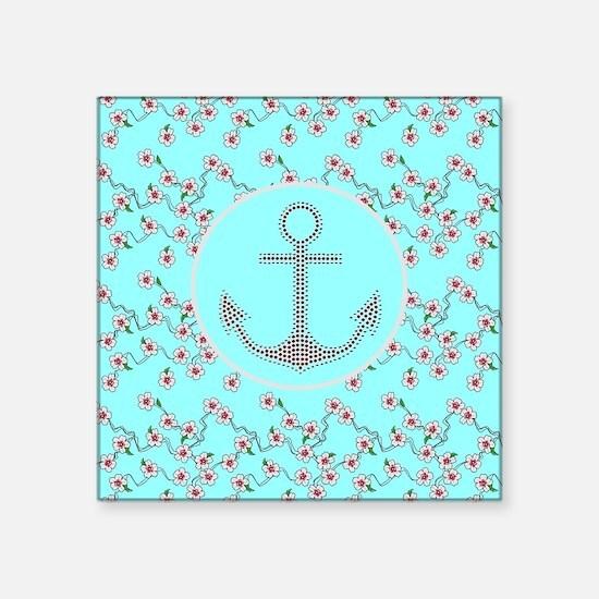 "girly nautical anchor flora Square Sticker 3"" x 3"""