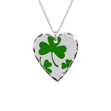 3 Shamrocks Necklace Heart Charm