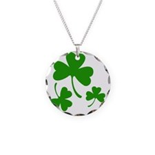 3 Shamrocks Necklace Circle Charm