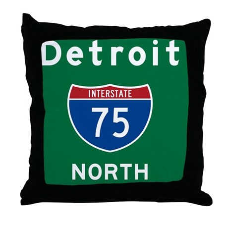 Detroit 75 Rec Mag Throw Pillow