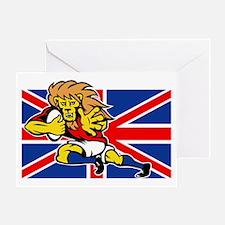 Cartoon British Lion rugby fending o Greeting Card