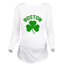 Boston Green Long Sleeve Maternity T-Shirt
