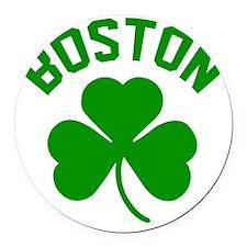 Boston Green Round Car Magnet