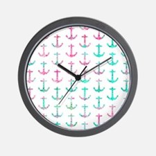 Pink Teal Turquoise Glitter Nautical An Wall Clock