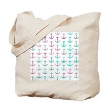 Pink Teal Turquoise Glitter Nautical Anch Tote Bag