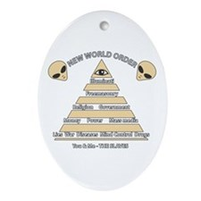 NWO conspiracy Oval Ornament