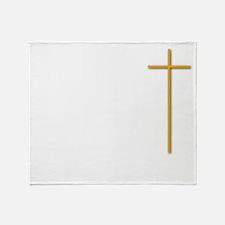 John 16-33 Yellow Cross White Letter Throw Blanket